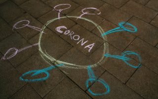 Chalk drawing of coronavirus