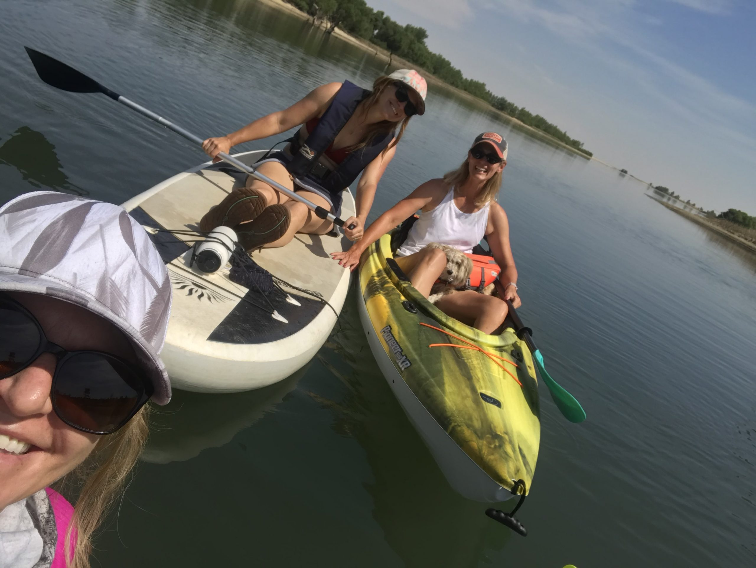 JVA grantwriters Kat, Erin and Lisa kayaking